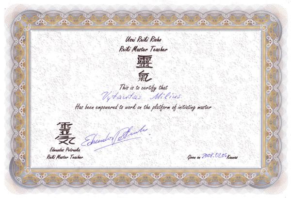 Reiki meistro sertifikatas